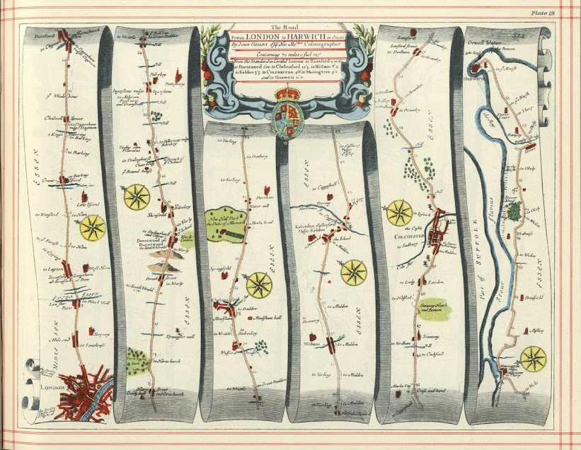 Section of London-Harwich in 1675, crossing the River Lea at Bow.
