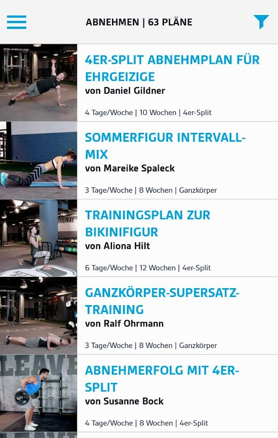 LOOX Fitness Planer – Screenshot