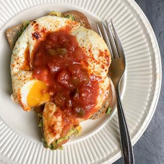 Avocado Toast Fried Eggs with Smoked Paprika + Salsa
