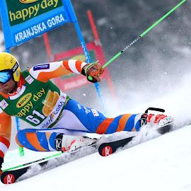 Maarten Meiners in Kranjska gora by Igor Martinšek - Sports & Fitness Snow Sports ( pokal vitranc, fis ski world cup 2017-18, nederland, maarten meiners, slovenia, kranjska gora )