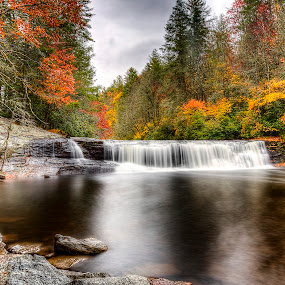 Hooker Falls - 176 by Lawayne Kimbro - Landscapes Waterscapes ( nc mountains, orange, stream, hooker falls, red, waterfalls, fall colors, waterscape, autumn, waterfall, yellow, river,  )