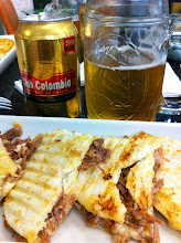 Photo: Lunch at Bogota airport.  Columbian beers and arepas.