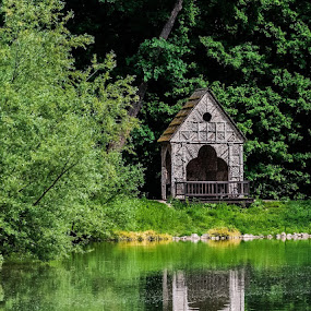 Cottage by the Lake  by Iva Marinić - City,  Street & Park  City Parks ( reflection, nature, wooden, cottage, lake, trees, photography )