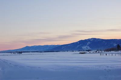 Winter sunset, snowy landscape. Near McCall ID. Photo by Lisa Callagher Onizuka