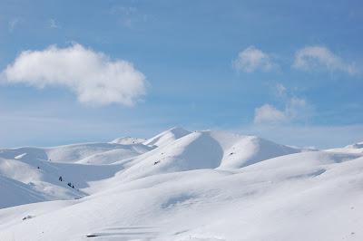 Sunny snowy naked hills near Hailey, Idaho.