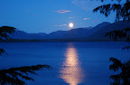 Moonrise reflection at Mountain Point, near Ketchikan, Alaska.