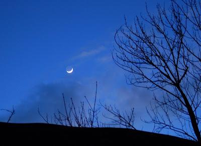 Sliver moon over Riggins, ID.