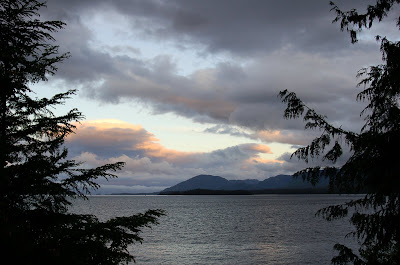 Sunset over the water from Mountain Point, near Ketchikan Alaska.