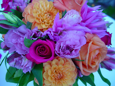 Jamie's wedding bouquet - amazing orange, lavender and hot pink.