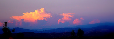 Spectacular sunset - puffy thunderheads over Kern County - Bakersfield, CA.
