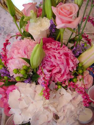 Audrey's wedding bouquet - peonies, pink roses, green berries, pink hydrangea.