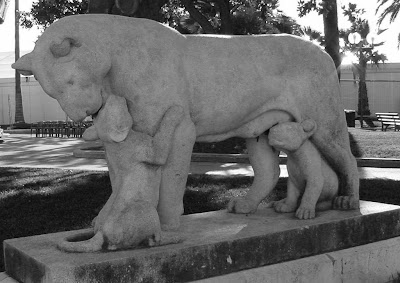 Statue of lioness & her cubs in Cannes, France.