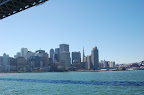 San Francisco skyline from ferry under Bay Bridge. Photo by Raymond R. Chambers