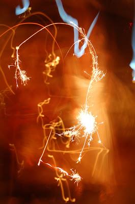 Sparks! Fireworks at wedding celebration.