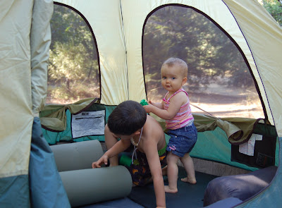 Camping with kids! Seiji and GG getting the tent ready.