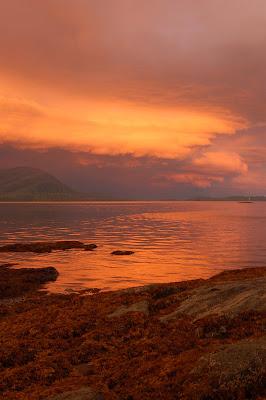 Amazing beautiful orange sunset near Ketchikan AK.