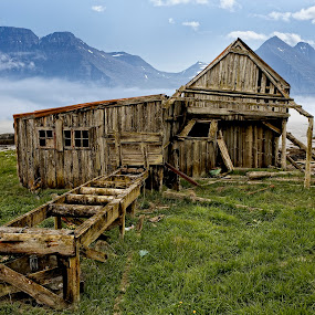 Saw Mill by Þorsteinn Ásgeirsson - Buildings & Architecture Other Exteriors ( timber, old, mountains, fog, grass, saw mill, timber house, antique )