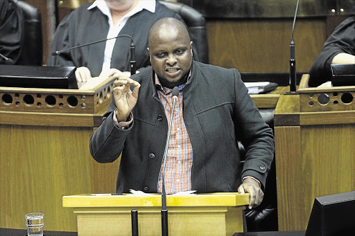 "At the conclusion of his speech during the debate' ANC MPs shouted that Shivambu should ""pay back the money""."