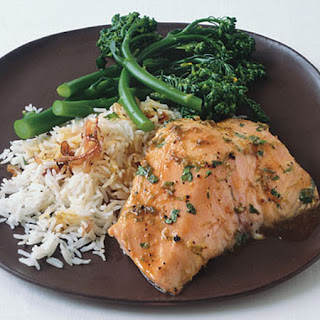Honey-Lime glazed Salmon with Broccolini and Basmati