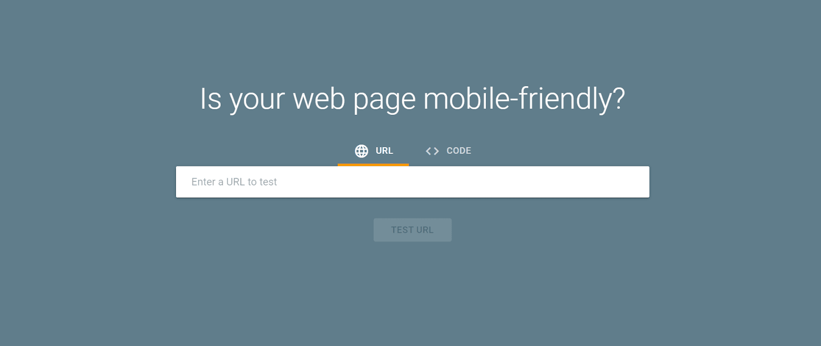 """A blue webpage with a search bar under the heading """"Is your web page mobile-friendly?"""""""