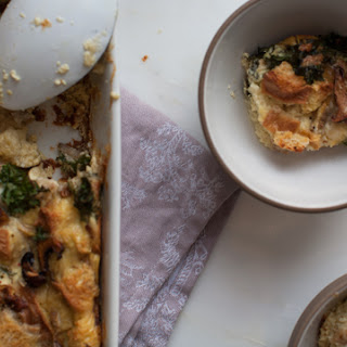 Smoked Cheesy Kale and Mushroom Strata