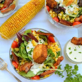 Lightened-up Cornbread Panzanella Salad with Greek Yogurt Ranch.
