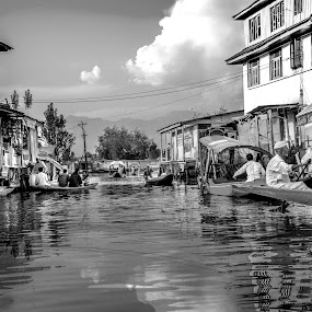 Floating Markte by Sudipto Ghosh - City,  Street & Park  Markets & Shops ( water, building, market, black and white, boats, floating, shikara )