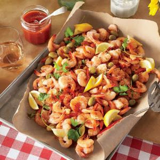 Shrimp Boil with Green Olives and Lemon