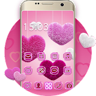 Fluffy diamond Hearts Theme: Pink Comics Launcher icon