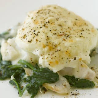 White Fish with Spinach and Egg.