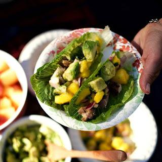 Mango Salsa Teriyaki Chicken Lettuce Wraps.