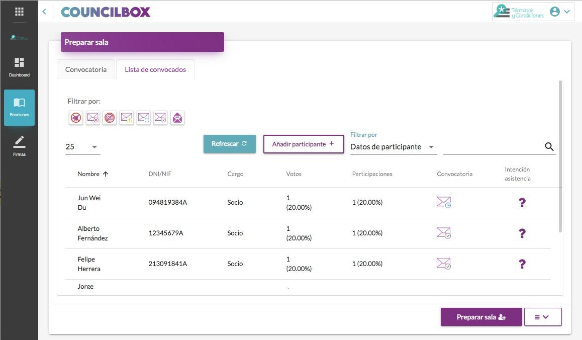 Cómo añadir participantes a la reunión/junta en Councilbox