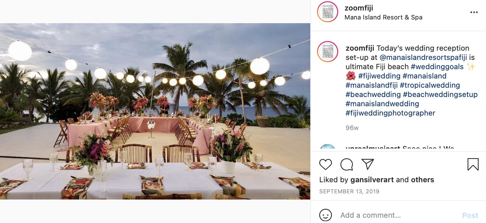 Fiji wedding reception