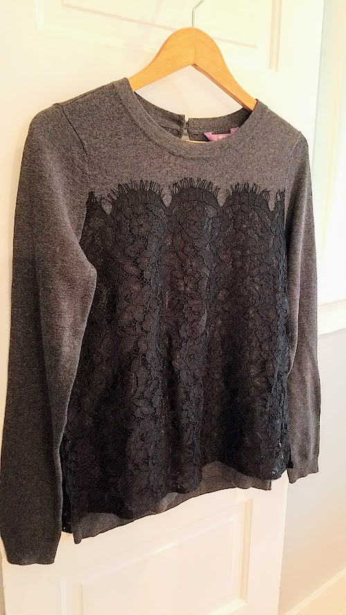 Stitch Fix Winter 2018 box review, Truly Poppy Glorya Lace Overlay Pullover