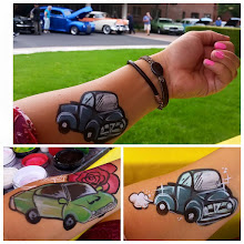 Photo: Tess painted these awesome cars on the arms of happy guests at the Claremont Manor Car Show on June 1st! Book her for your next event by calling 888-750-7024