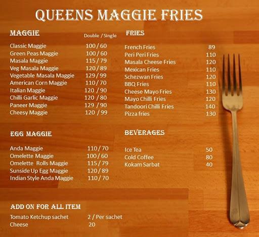 Queen Maggie Fries menu 1
