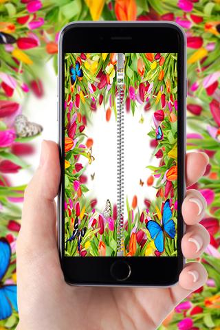Roses zipper lock screen