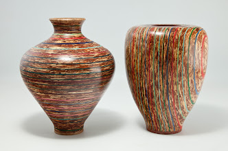 "Photo: ELIOT FELDMAN – PAIR OF VASES – 5"" x 6.5"" Horizontal Orientation, 5.25"" x 7"" Vertical Orientation [Layers of Cedar Shelf Liner and Colored Paper]"