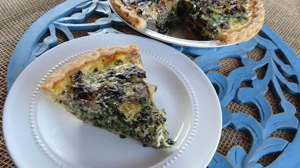 Spinach, Mushroom, Onion Quiche