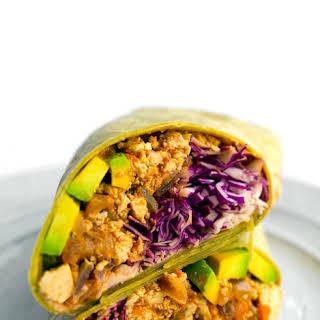 Southwest Tofu Burrito with Avocado.