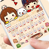 Cute Cartoon Cat Keyboard Theme Sweet Little Kitty