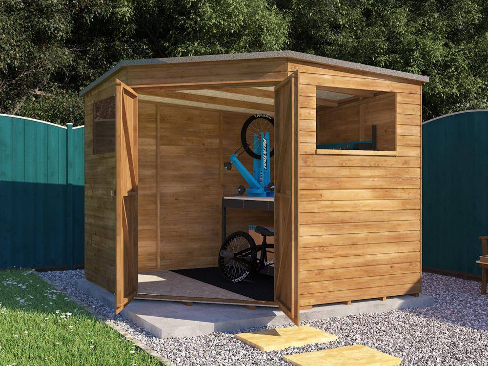 Our Dad Corner Shed features two windows and wide opening wooden doors