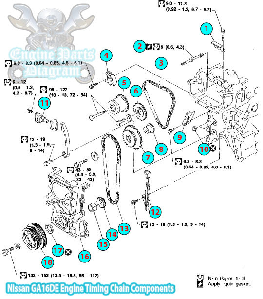 1994 Nissan Sunny B13 Timing Chain  ponent Ga16de Engine on nissan sentra 1 6 engine
