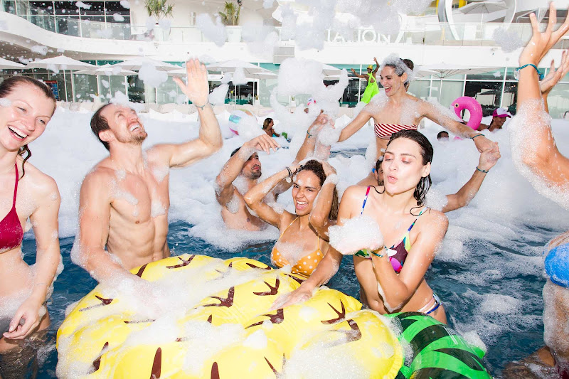 One of the highlights of any stay at Temptation Cancun Resort is the bubble-filled foam party in the sexy pool.