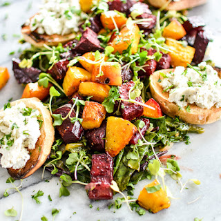 Roasted Beets and Beet Greens with Goat Cheese Crostini