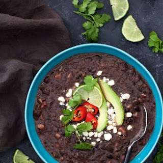 Slow Cooker Black Bean Soup with Ham.