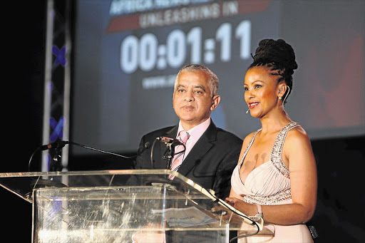 Moegsien Williams and Gerry Elsdon at the launch of the ANN7 news channel