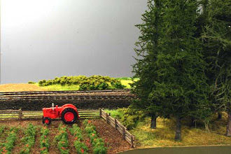 Photo: Initial scenery at Marshall's Siding. Case tractor is Ertl diecast.
