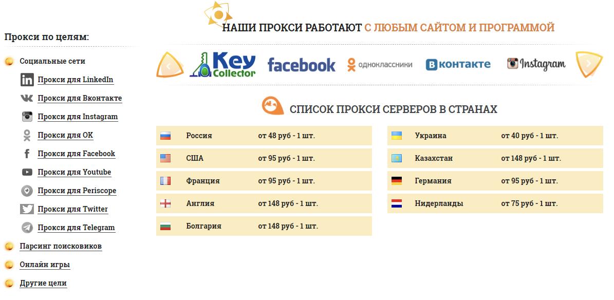 список Proxy для социальных сетей