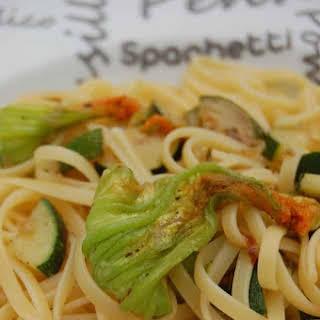 Liguine with Zucchini and Zucchini Flowers.